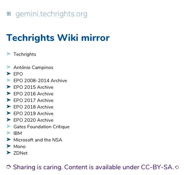 Techrights wiki in gemini://