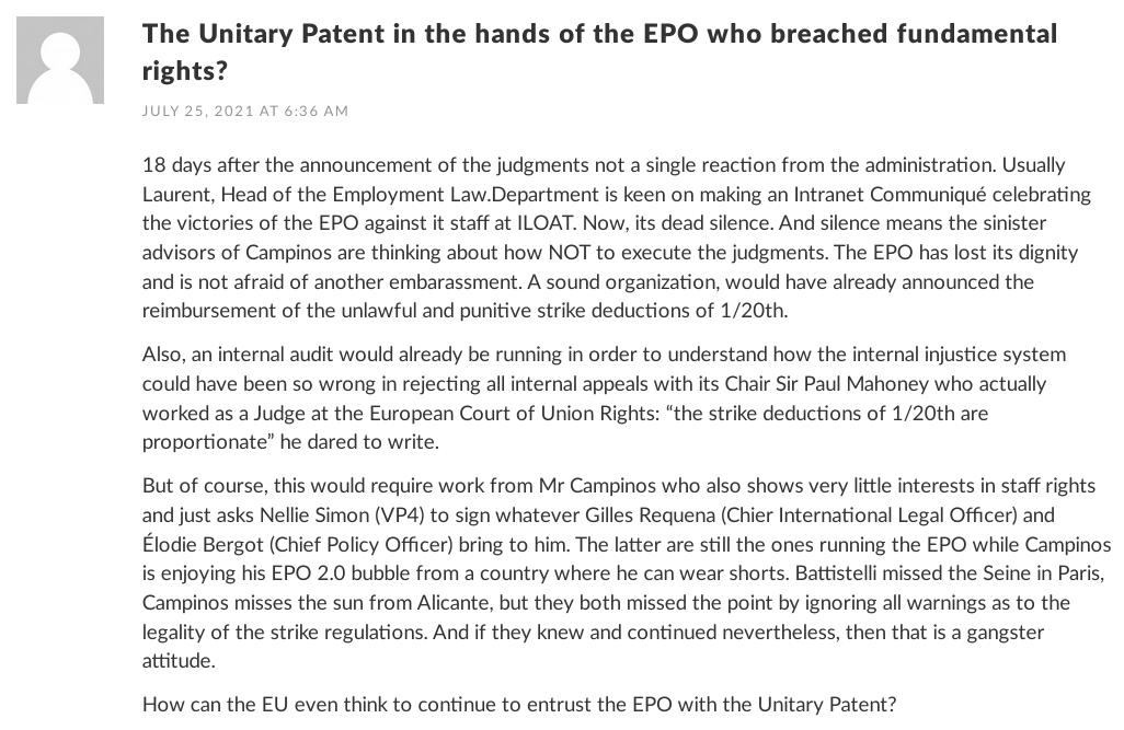 UPC comment