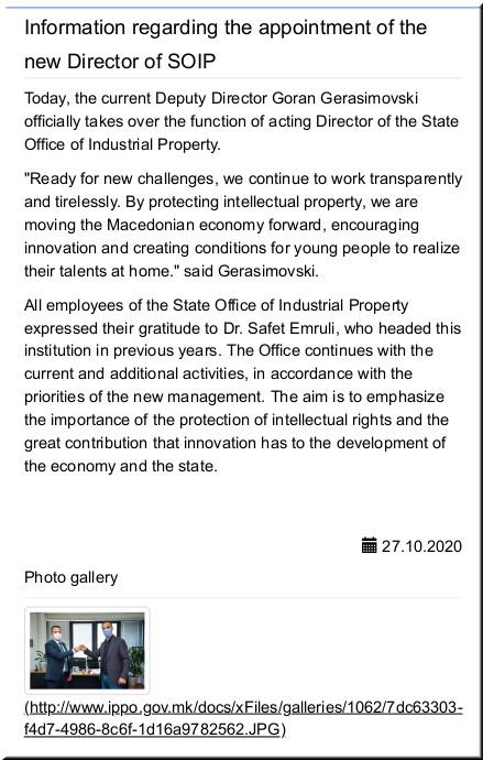 Appointment of Gerasimovski