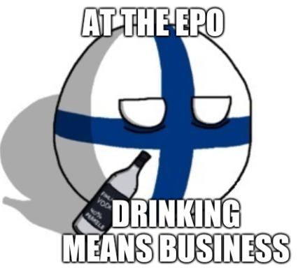 At the EPO, drinking means business