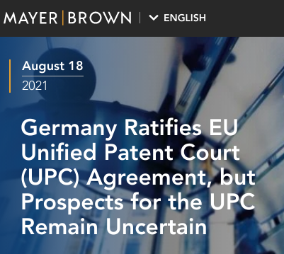 Germany Ratifies EU Unified Patent Court (UPC) Agreement, but Prospects for the UPC Remain Uncertain