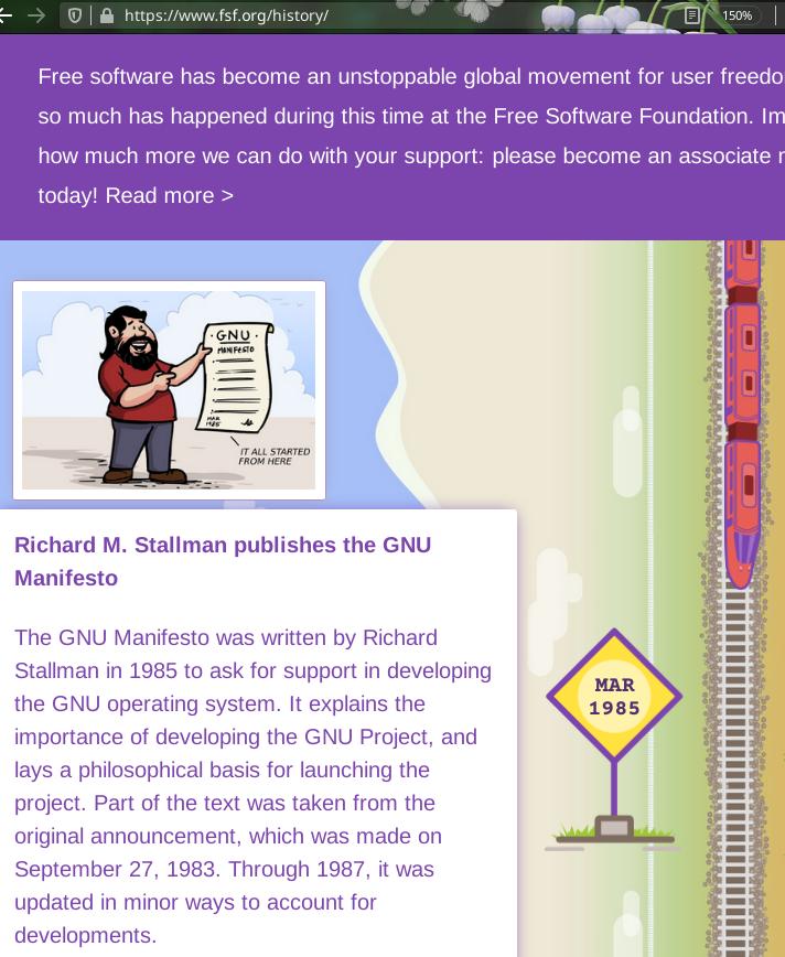 Richard M. Stallman publishes the GNU Manifesto