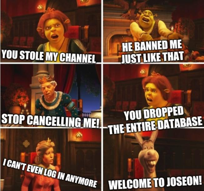 Shrek Fiona Harold Donkey: You stole my channel - He banned me just like that - Stop cancelling me! - You dropped the entire database - I can't even log in anymore - Welcome to Joseon!
