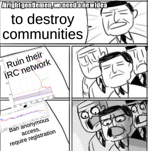 Killing Freenode: Alright Gentlemen We Need A New Idea to destroy communities: Ruin their IRC network; Ban anonymous access, require registration