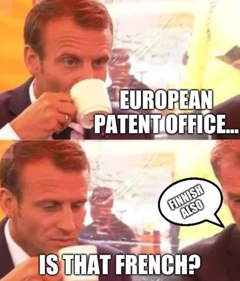 European patent office... Is that French? Finnish also