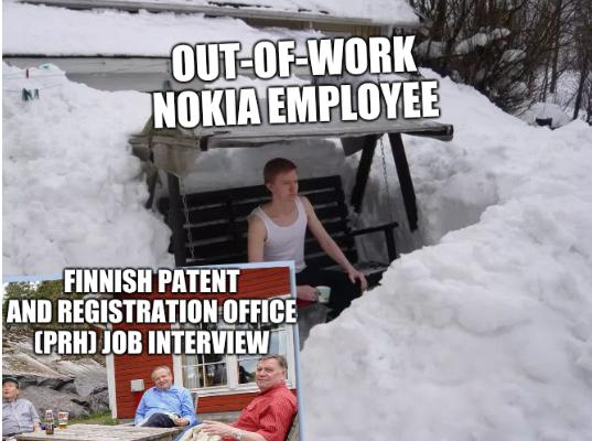 Out-of-work Nokia employee and Finnish Patent and Registration Office (PRH) job interview