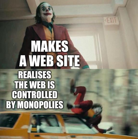 Joaquin Phoenix Joker Car: Makes a Web site, realises the Web is controlled by monopolies