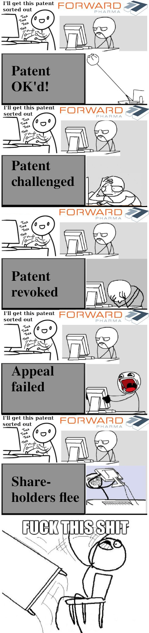 I'll get this patent sorted out; Patent OK'd! Patent challenged; Patent revoked; Appeal failed; Share-holders flee