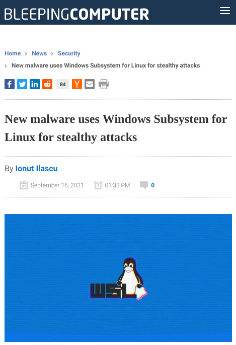New malware uses Windows Subsystem for Linux for stealthy attacks