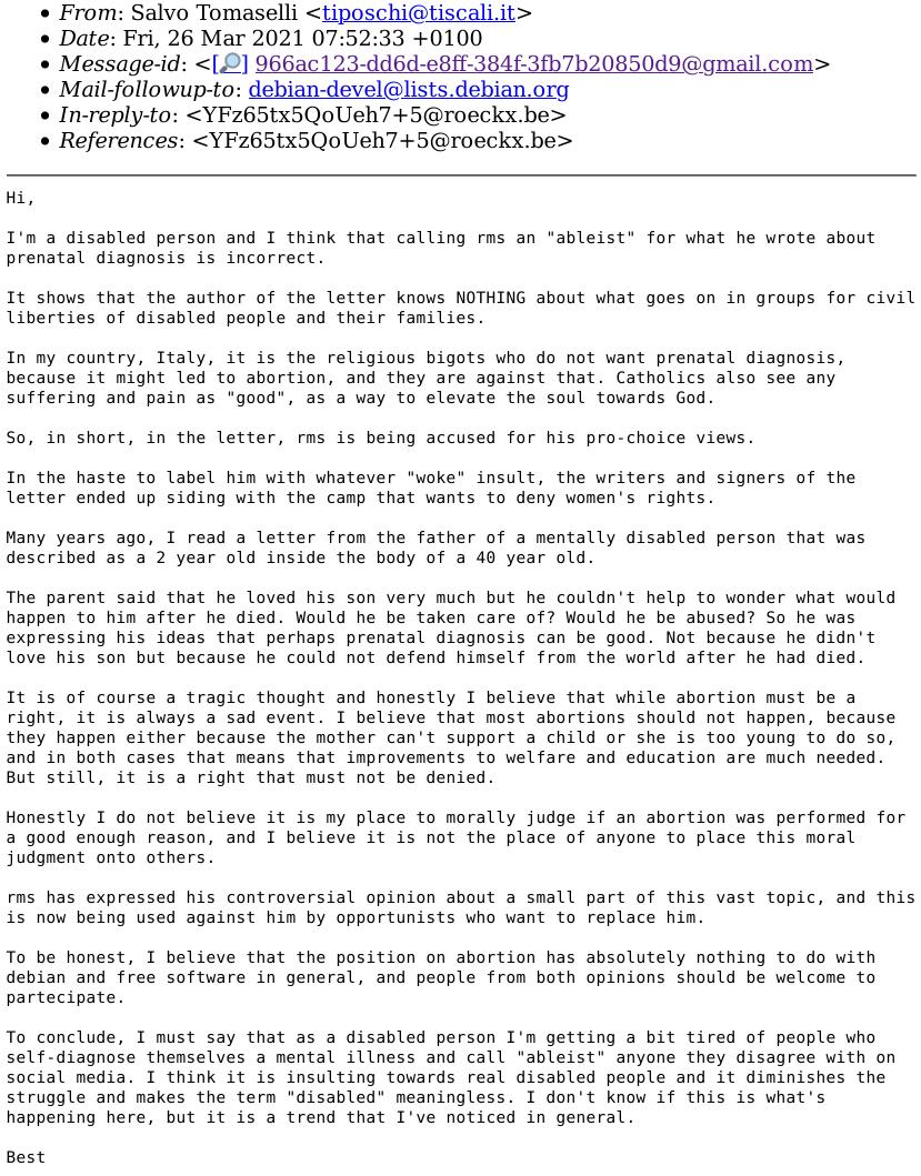 Debian RMS message