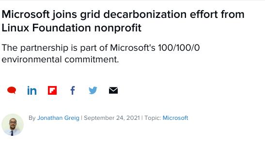 Microsoft greenwashing in ZDNet