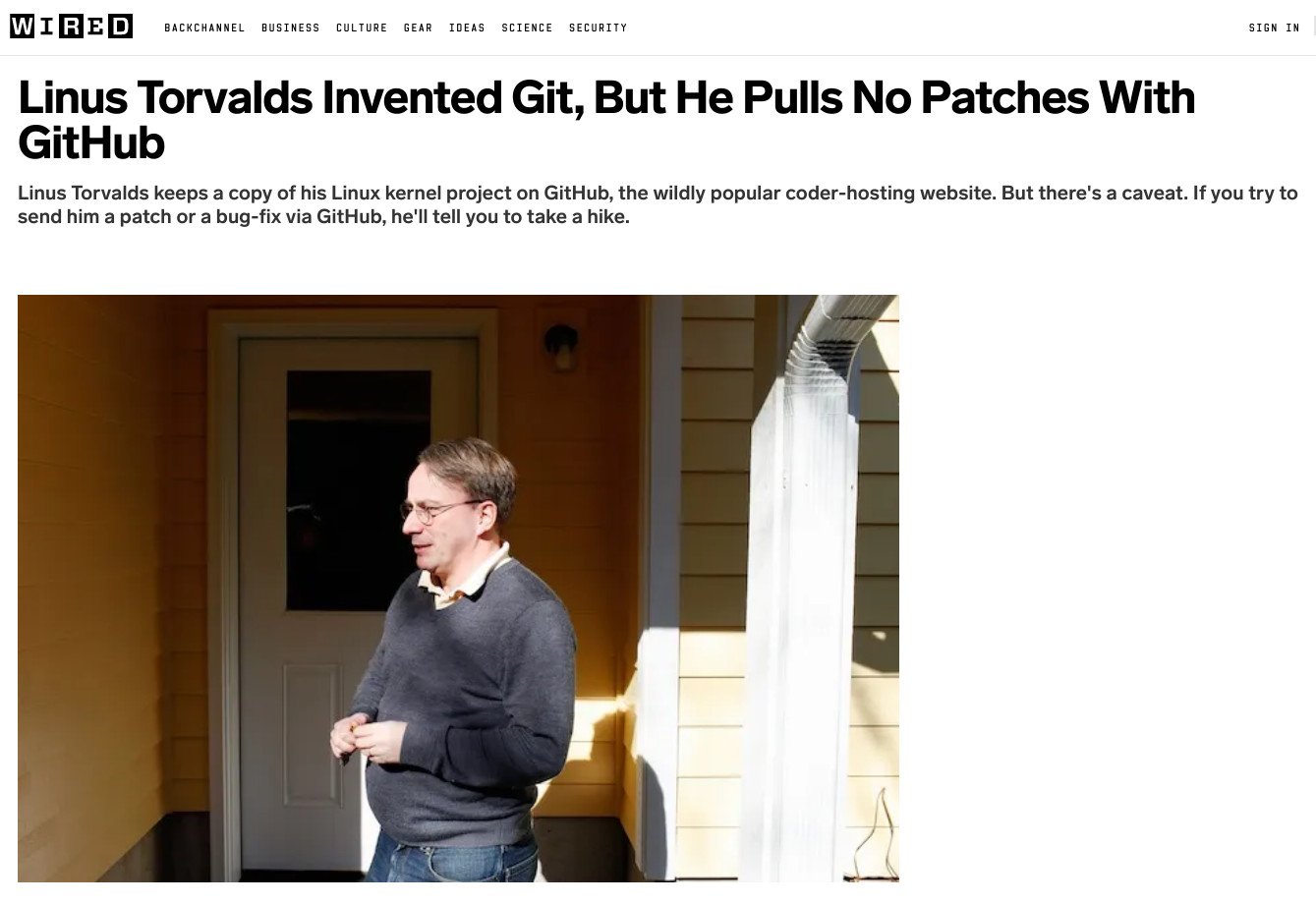 Linus Torvalds Invented Git, But He Pulls No Patches With GitHub