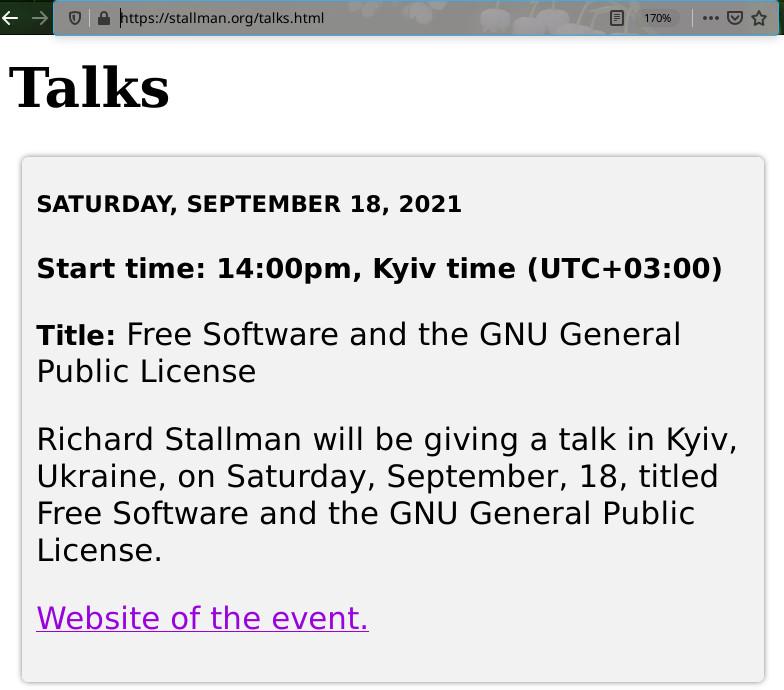 Richard Stallman on Ukraine event