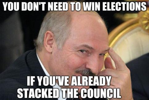 Lukashenko pointing finger: You don't need to win elections if you've already stacked the council