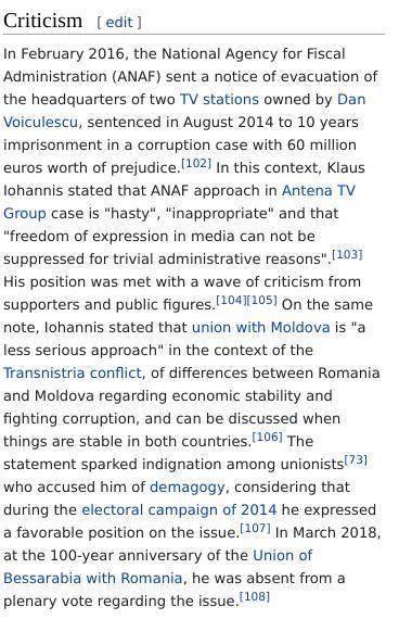 Klaus Iohannis criticism