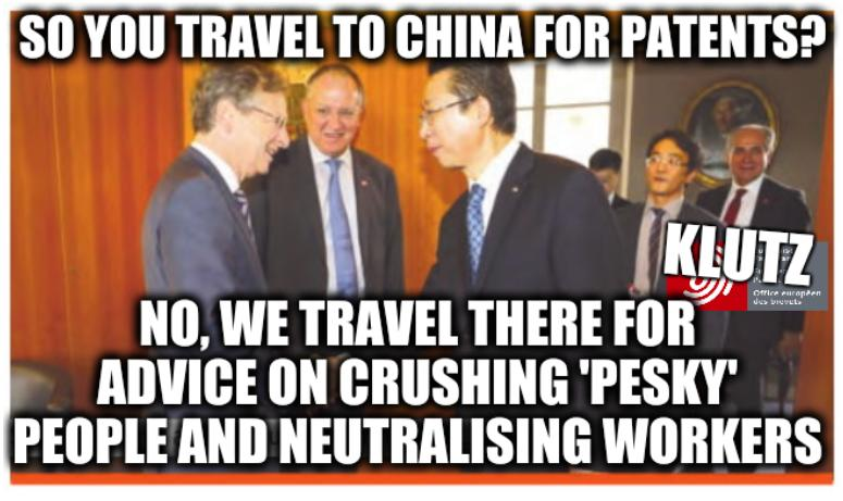 Battistelli and Klutz/Lutz: So you travel to China for patents? No, we travel there for advice on crushing 'pesky' people and neutralising workers