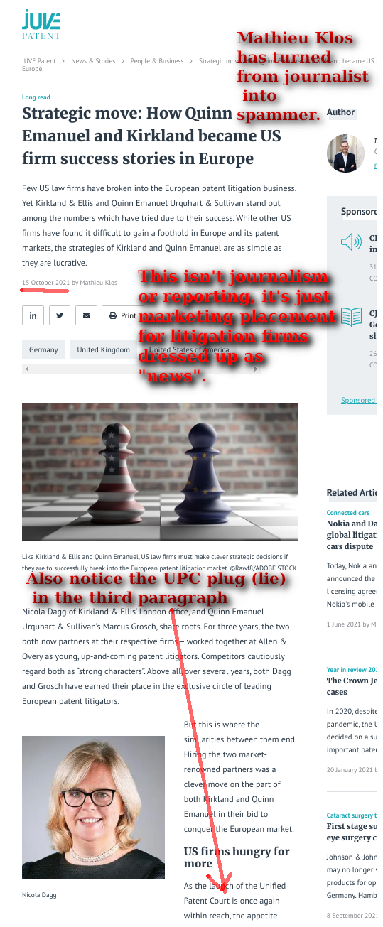 Mathieu Klos has turned from journalist into spammer. This isn't journalism or reporting, it's just marketing placement for litigation firms dressed up as 'news'. Also notice the UPC plug (lie) in the third paragraph (and below, reproduced).