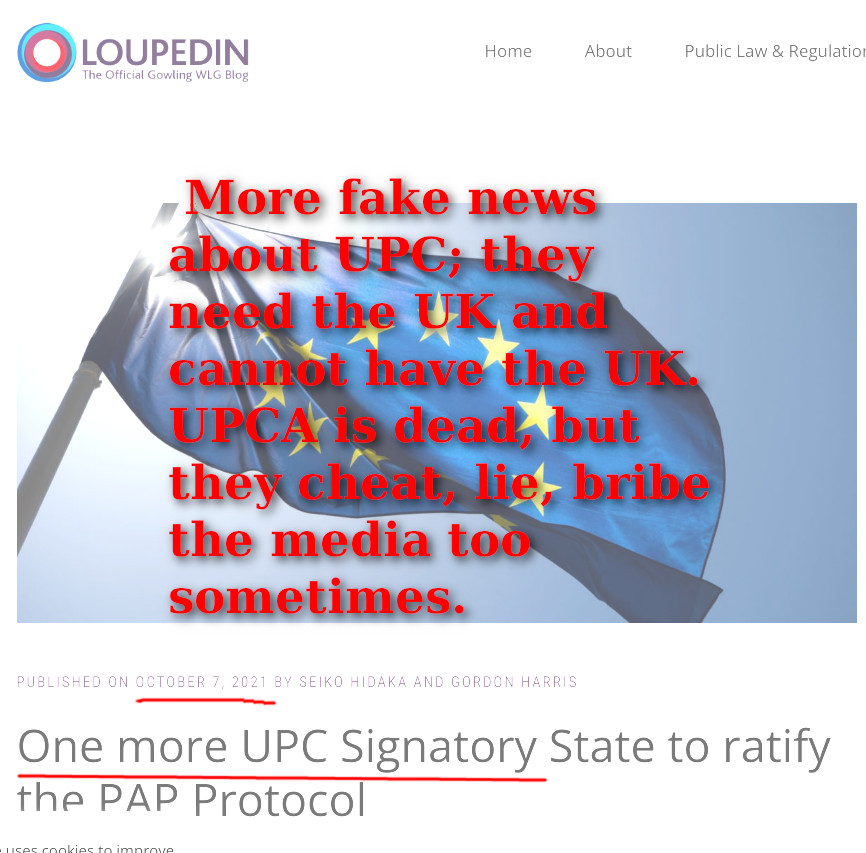 More fake news about UPC; they need the UK and cannot have the UK. UPCA is dead, but they cheat, lie, bribe the media too sometimes.