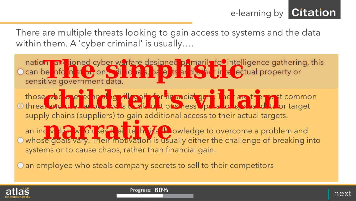 The simplistic children's villain narrative