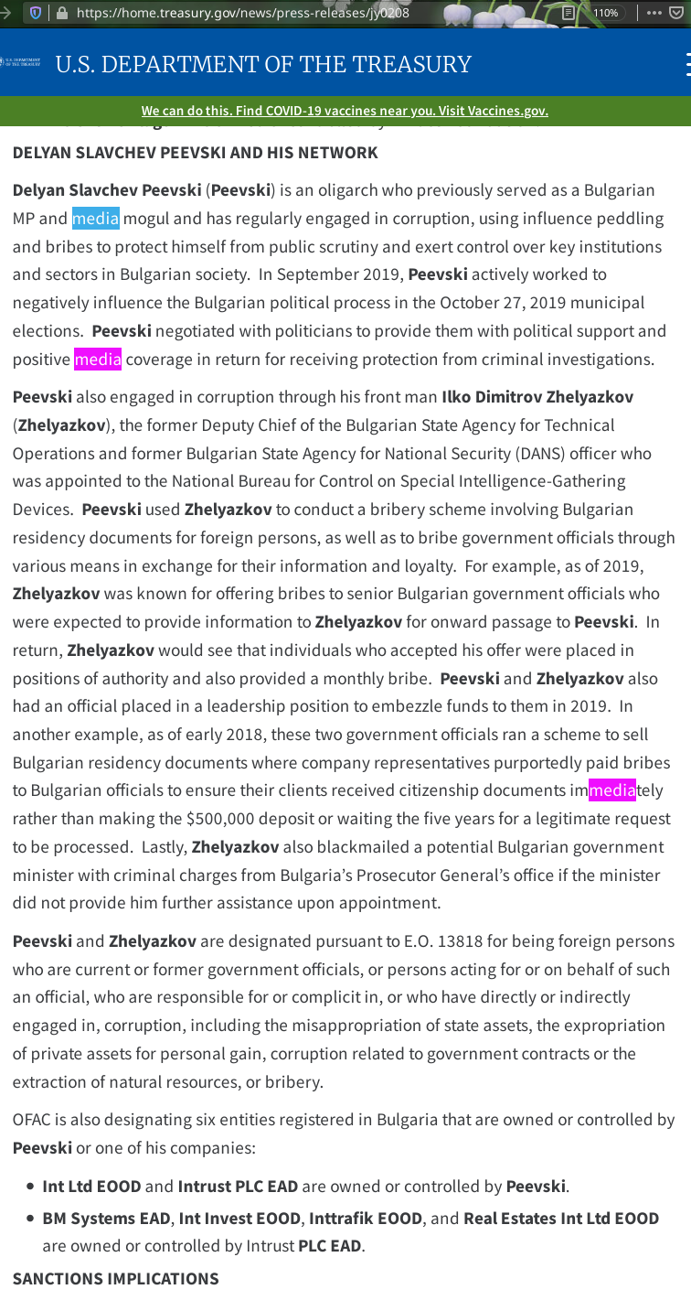 Treasury Sanctions Influential Bulgarian Individuals and Their Expansive Networks for Engaging in Corruption