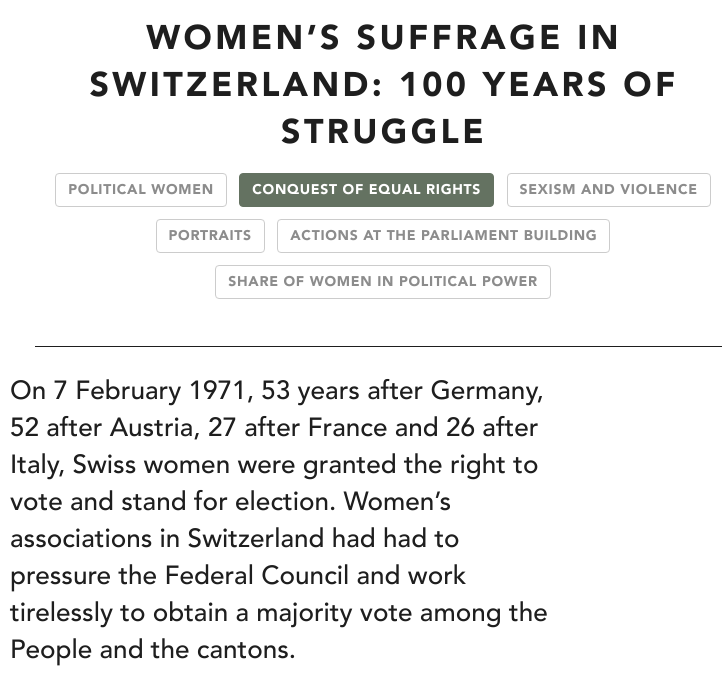 Women's suffrage in Switzerland: 100 years of struggle